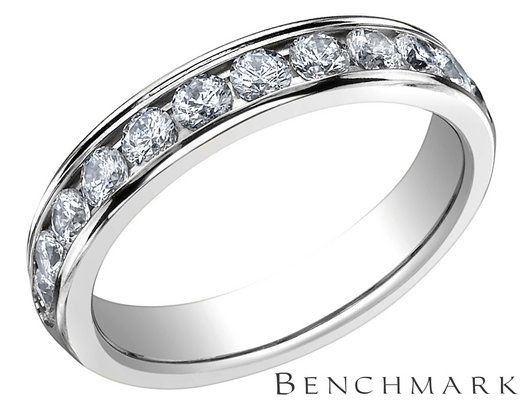 Benchmark Ladies Semi-Eternity Diamond Wedding Band and Anniversary Ring 3/4 Carat (ctw) in 14K White Gold