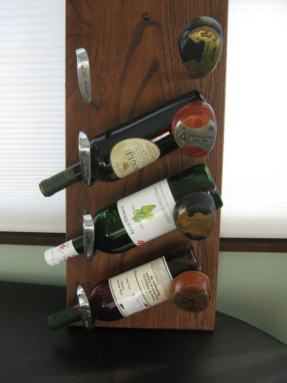 Four Bottle Wine Rack Made With Re-Purposed by DogHouseWoodsnVines