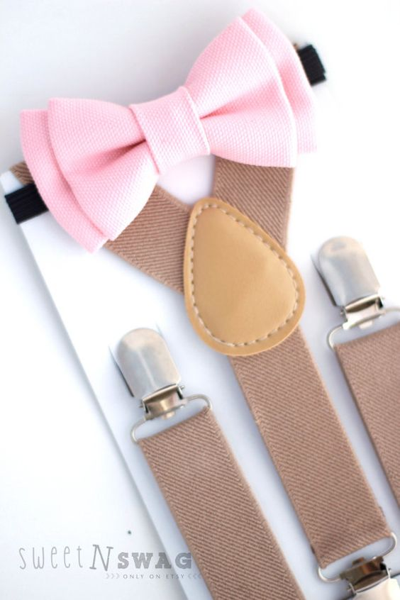SUSPENDER & BOWTIE SET.  Tan suspenders. Blush Pink bow tie. Newborn - Adult sizes.