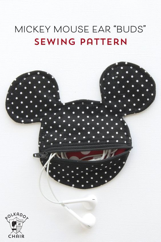 DIY: Mickey Mouse inspired earbuds case / coin purse: