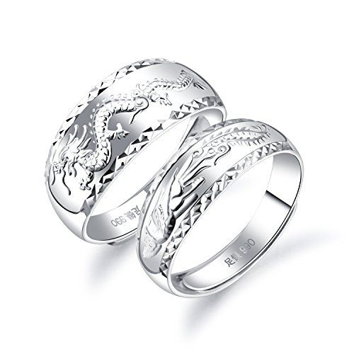 Fate Love 990 Silver Chinese Feature Lucky Dragon Phoenix Carved Couple Ring Wedding Band Set Adjustable Siz Wedding Ring Bands Wedding Rings Wedding Band Sets