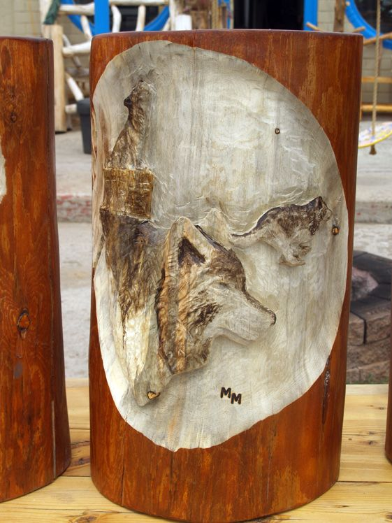 Relief carved wolf scene on log end table fun with wood
