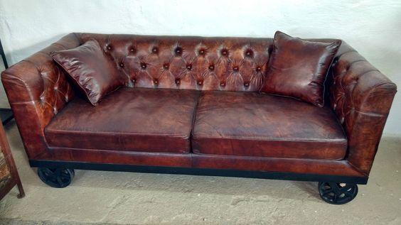 Leder Sofa Couch Wohnlandschaft auf Räder 2 Sitzer braun Industrie Design Loft