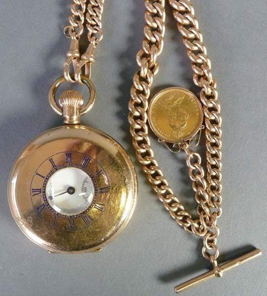 9ct GOLD CURB LINK WATCH ALBERT SUSPENDING A VICTORIAN (1889) GOLD SOVEREIGN