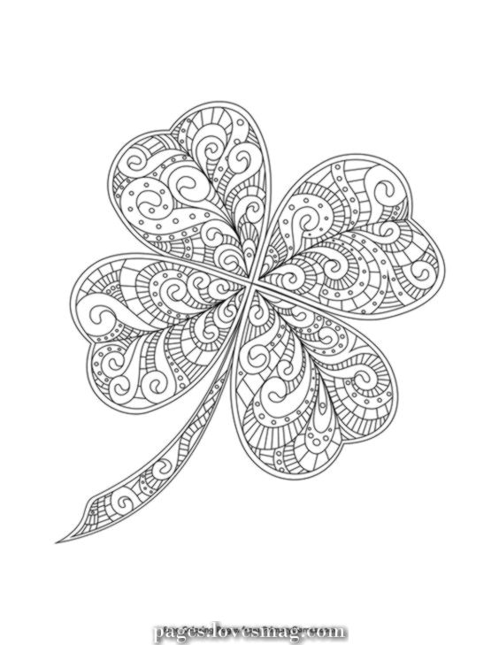St Patricks Day Coloring Pages Ebook Zentangle 4 Leaf Clover In