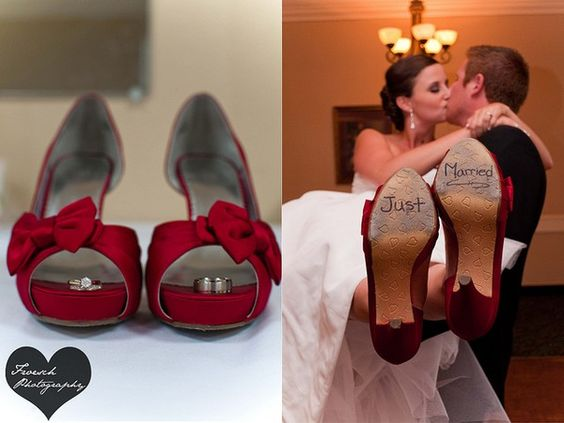 Red #wedding shoes, #just married, wedding shoes, just married, wedding pictures, red shoes #BTuckerPhoto by BTuckerPhoto