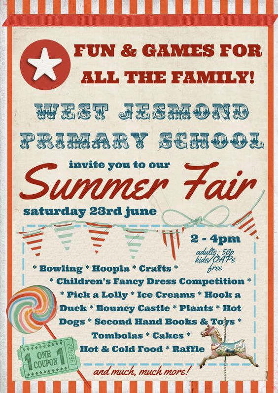 School Fete Summer Fair Vintage Poster Template By