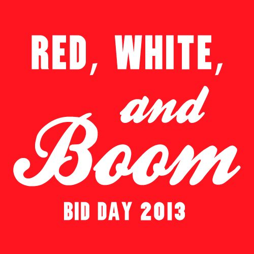 Red, White, and BOOM! Pi Beta Phi Sorority Greek Streak T-shirt design. Can be customized for any Fraternity or Sorority.