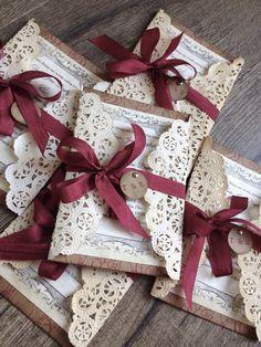 Rustikale rot Lace Hochzeit Einladung Beispiel von ScrappySeahorse
