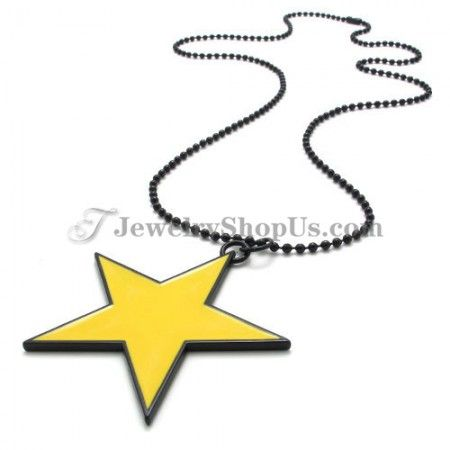 Elegant Yellow Alloy Star Shape Pendant