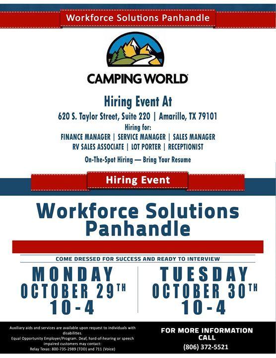Camping World Job Fair On The Spot Hiring Bring Your Resume