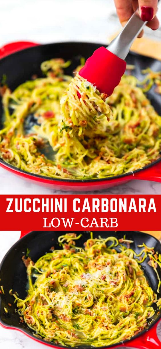 LOW-CARB ZUCCHINI CARBONARA