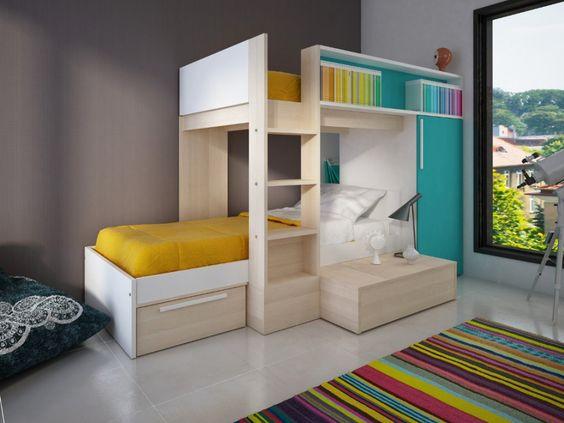 Kinderbett Hochbett Marvin - 2x90x190cm inkl.Kleiderschrank - Blau