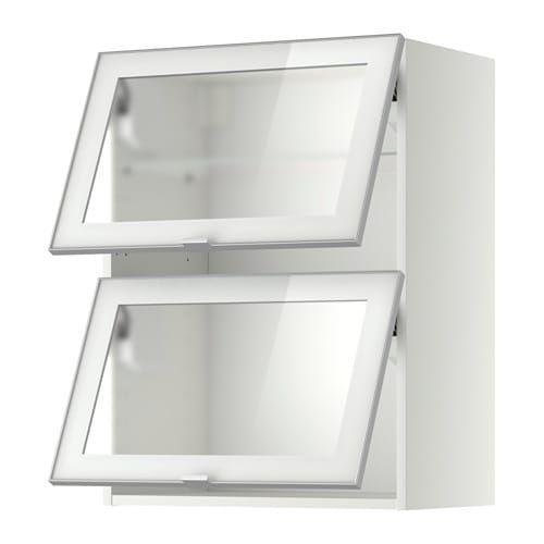 Metod White Jutis Frosted Glass Wall Cab Horizontal W 2 Glass Doors 60x80 Cm Ikea Armoire Murale Glass Door Ikea