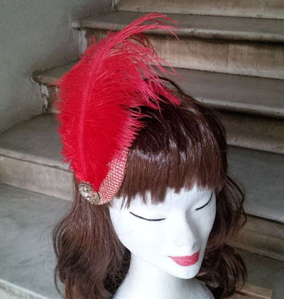 Reserved for Danila  Red and Gold Fascinator by JCNfascinators