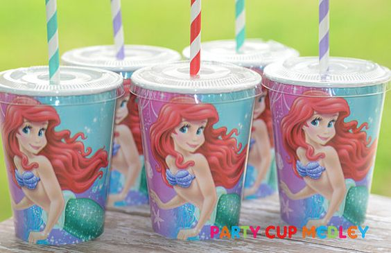 Little Mermaid Birthday-Ariel Party Cups-Set of 8; little kids always do better with lids and straws!