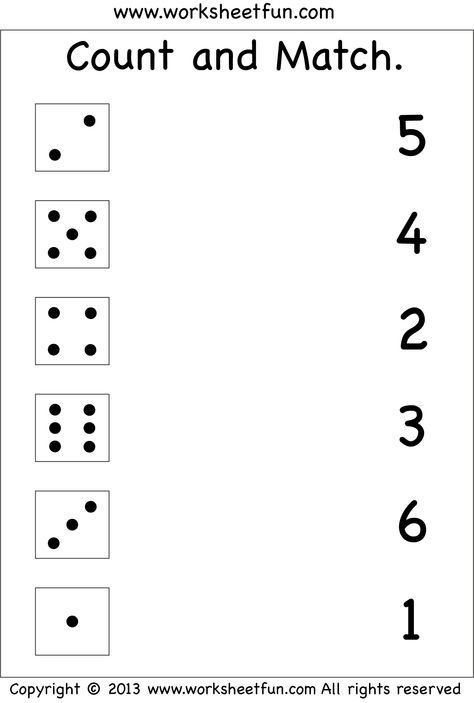 Numbers – Count And Match / FREE Printable Worksheets – Worksheetfun Free  Kindergarten Worksheets, Preschool Math Worksheets, Numbers Preschool