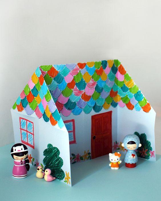fabriquer une maison de poup e en origami pour les filles pinterest examens tutoriels et. Black Bedroom Furniture Sets. Home Design Ideas