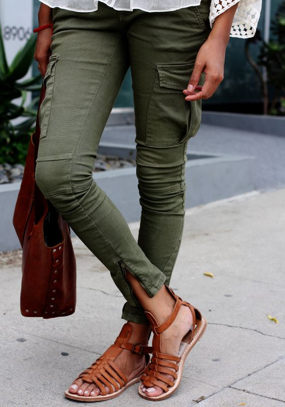 cargos with leather sandals.