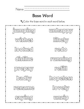 Color the Root Word {Base Word} | Root Words, Words and Roots