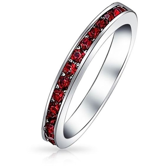 Bling Jewelry Bling Jewelry Sterling Silver Dark Colored Cz Eternity... ($21) ❤ liked on Polyvore featuring jewelry, rings, red, sterling silver band rings, stackable eternity rings, red heart ring, sterling silver heart ring and sterling silver cz rings