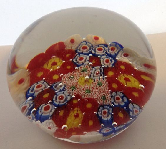 Millefiori paperweight Red/white/blue Patriotic USA colors