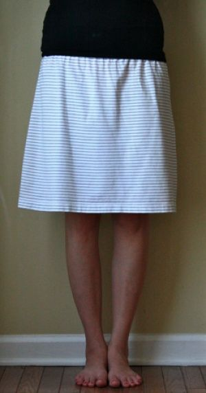 Turn a mens shirt into a simple skirt.