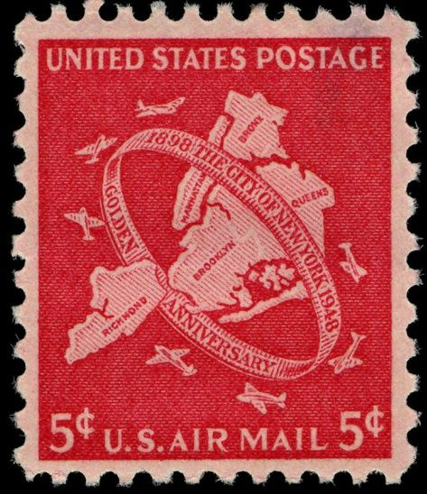 This Airmail Stamp, issued in 1946, marked the 50th anniversary of the consolidation of the five boroughs of New York City. Today, New York City charter provides for a mayor elected at large, five borough presidents, and a city council.
