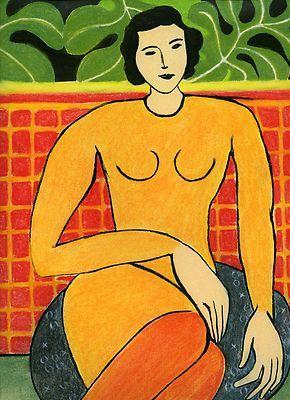 """""""Mulher sentada"""", Henri Matisse (1942) Em 1941, adoentado por um câncer, foi hospitalizado em Lyon, onde os médicos deram a ele seis meses de vida. Sem poder viajar, utilizou experiências recolhidas em suas viagens para aperfeiçoar sua originalidade. Nesse período, Matisse inventou a técnica de """"desenho com tesoura"""":"""