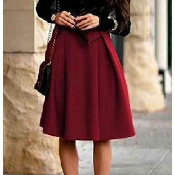 Burgundy a line skirt Boutique | Stains, Flare and The o'jays