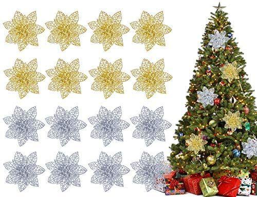 16 Pcs Glitter Poinsettia Flowers Christmas Tree Ornaments Decorations 4 Gold Sliver Ornament Decor Christmas Tree Ornaments Christmas Tree