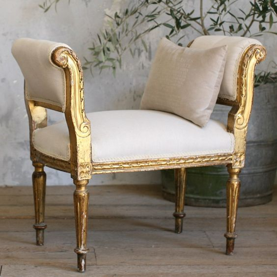 One of a Kind Vintage Banquette Louis XVI Scroll from @LaylaGrayce #laylagrayce #gold #bench: Gold Bench, Furniture Fabrics, Laylagrayce Gold, Chairs Painted Furniture, Classic Style, Antique Vintage