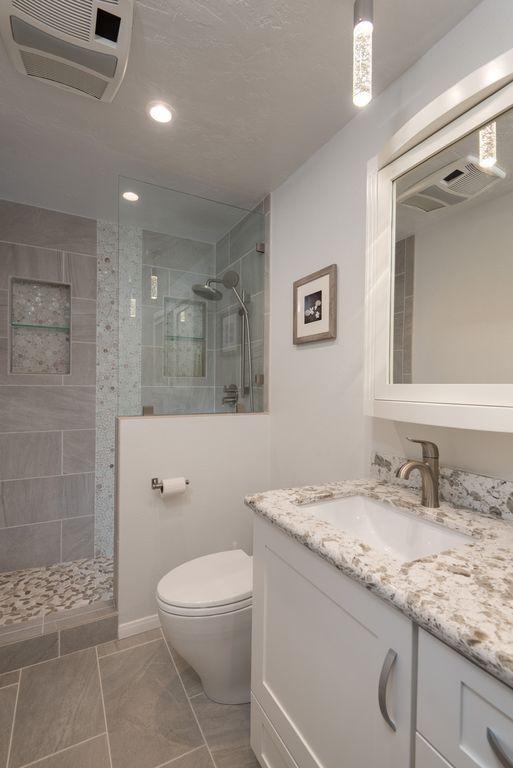 Transitional 3/4 Bathroom with Pental - Eco Stone Porcelain Tile Collection, Glass panel, slate tile floors, Complex Granite