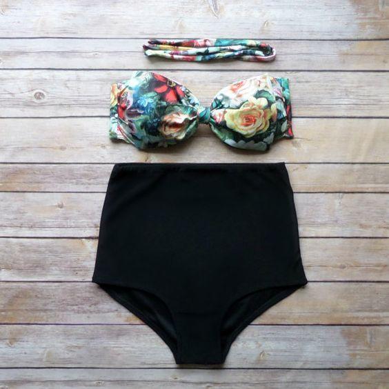 Bow Bandeau Bikini - Vintage Style High Waisted Pin-up Swimwear -  Beautiful Floral Print - Unique & So Cute & mine!!!