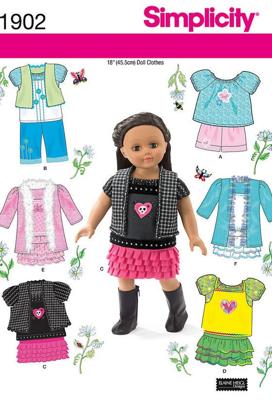 Free Printable Doll Clothes Patterns | 18 Inch Doll Clothes Pattern Simplicity by RostLakeCottageCraft: