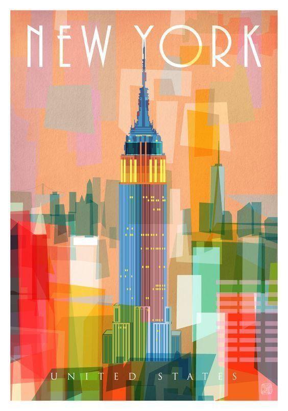 New York Ii Nicholas Girling Melbourne Australia Newyorktravel Vintage Travel Posters Travel Poster Design Vintage Posters