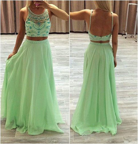 Long Prom Dress, Two Pieces Prom Dress, Green Prom Dress, Chiffon Prom Dress, Party Prom Dress, Evening Dress Gown