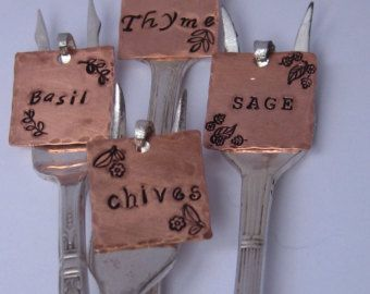 Set of Four Upcycled Herb Garden Markers - Made from vintage seafood forks and Hand stamped to order