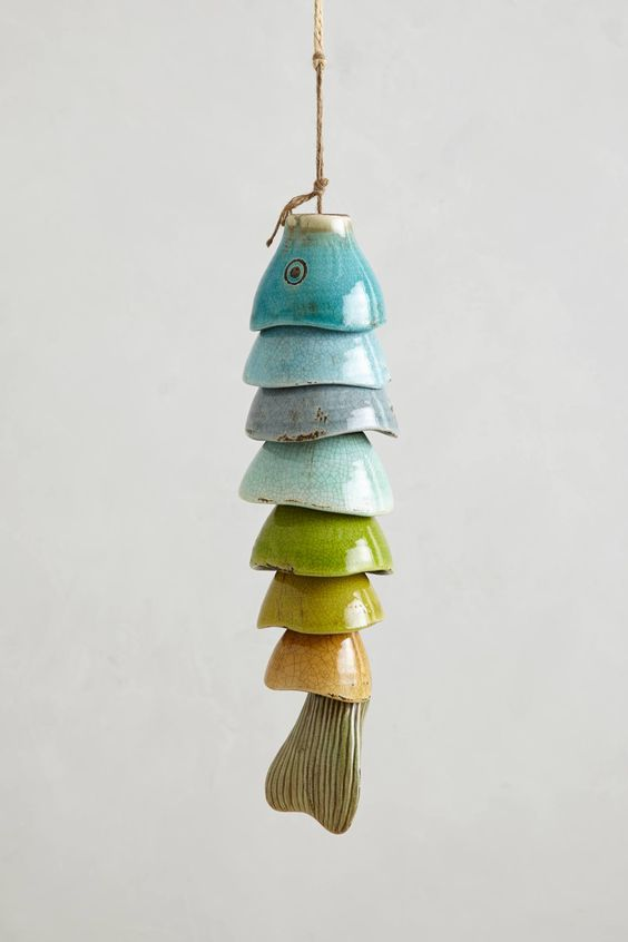 Coldwater Catch Wind Chime - anthropologie.com - How about recycling charity shop bowls or making it from air drying clay. Or learn a new skill and take a pottery class