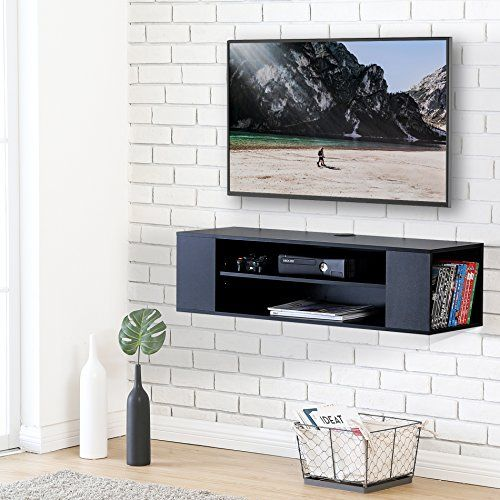 Fitueyes Wall Mounted Audio Video Black Wood Grain For Xb Wall Mounted Media Console Wall Mount Tv Stand Floating Tv Stand