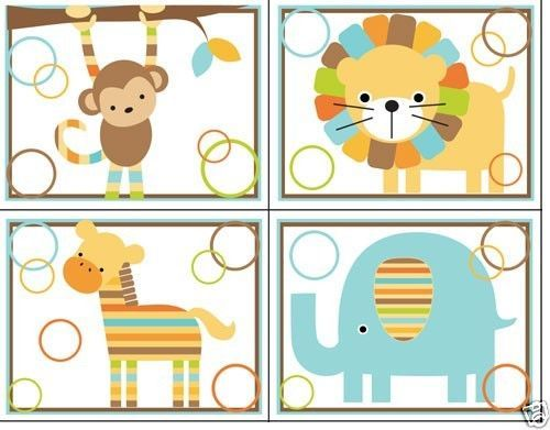 Mod Jungle Animals Wall Decals Baby Boy Nursery Kids Room decor. Monkey, Elephant, Zebra, and Lion. Use as wall decals or 8x10 Wall Prints #decampstudios