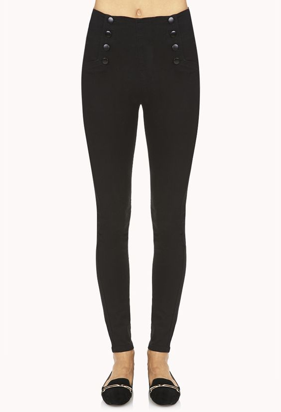 High-Waisted Matelot Skinny Jeans | FOREVER21 Do you prefer high-waisted or low-rise #Denim? #Skinnies