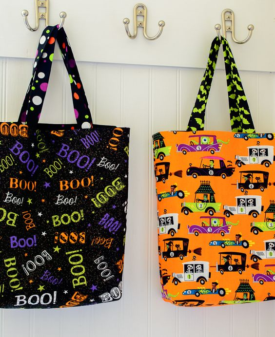 Choose some fun Halloween fabric and you can make these trick or treat bags in a flash!