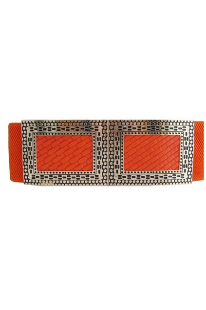 This waist belt crafted in PU, featuring rectangle metal embellished to front with hook fastening, a wide-cut design, an elasticated insert to the reverse.$26