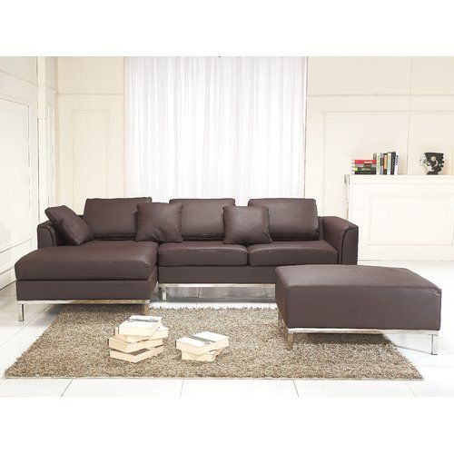 Mercury Row Kenna Corner Sofa Leather Living Room Set Sectional Sofa Leather Sectional Sofas