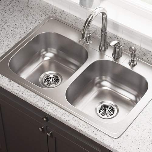 Stainless Steel 33 X 22 Double Basin Drop In Kitchen Sink Drop In Kitchen Sink Sink Steel Kitchen Sink