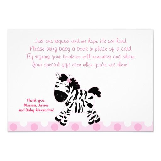 cute pink zebra rsvp enclosure cards   book themed baby shower, Baby shower invitations