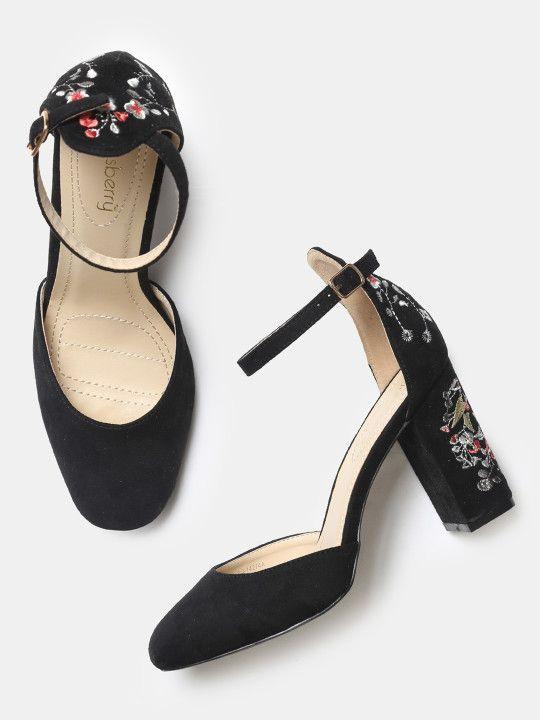 Black Embroidered Block Heels