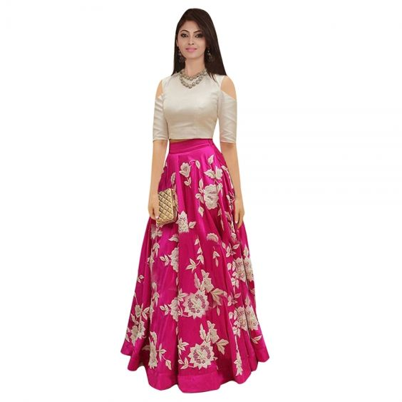 Buy White Semi Stitched Lehenga Suit Online at cheap prices from