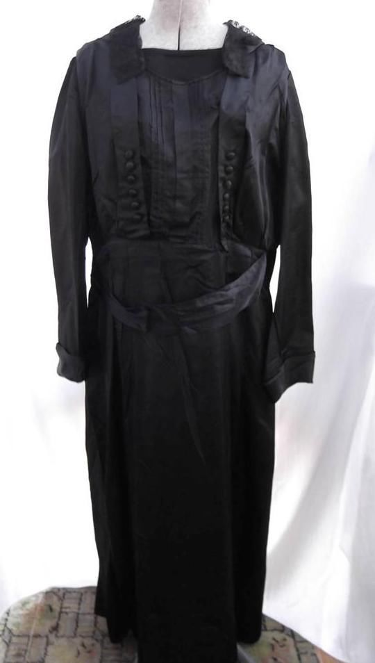 Edwardian WWI Black Dress Silk Blend French Lace Mourning Fragile Sold AS IS!